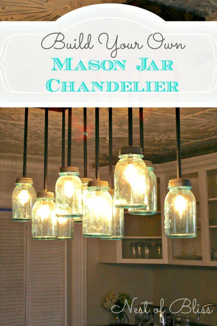 How To Easy Build A Mason Jar Chandelier - DIY