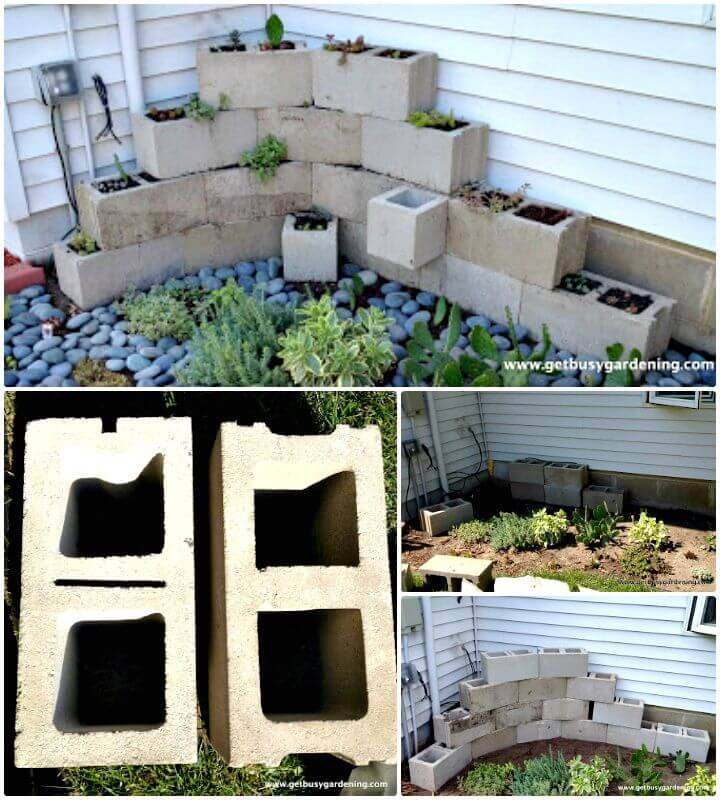 DIY Concrete Cinder Block Planter - Free Tutorial
