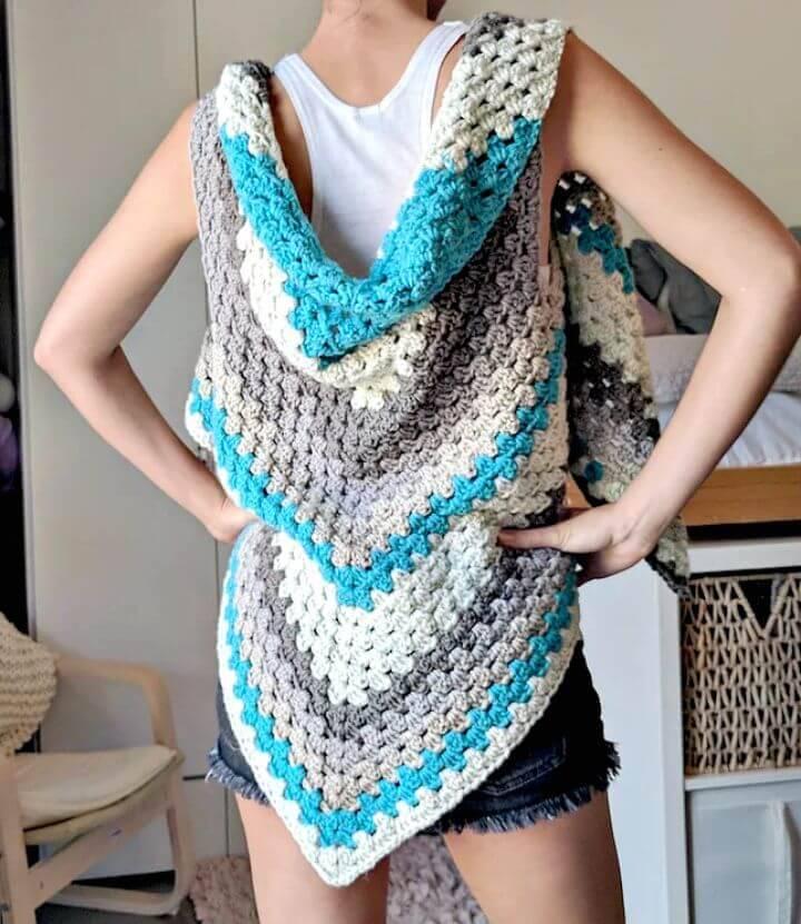 Free Crochet Caron Cake Triangle ShawlScarf The Versatile Vest!