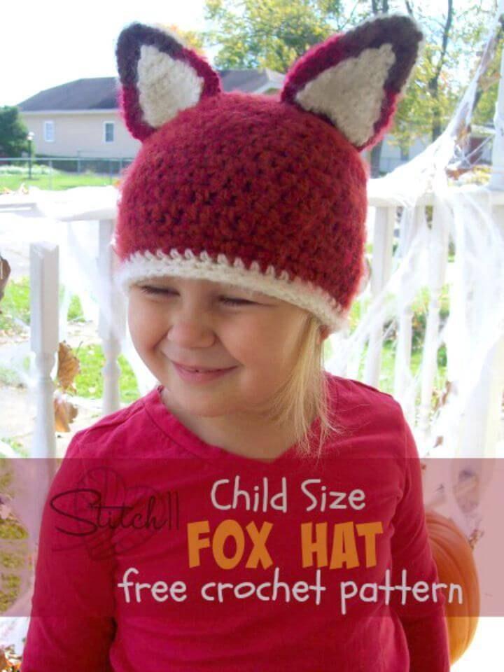 Child Size Fox Hat – Free Crochet Pattern
