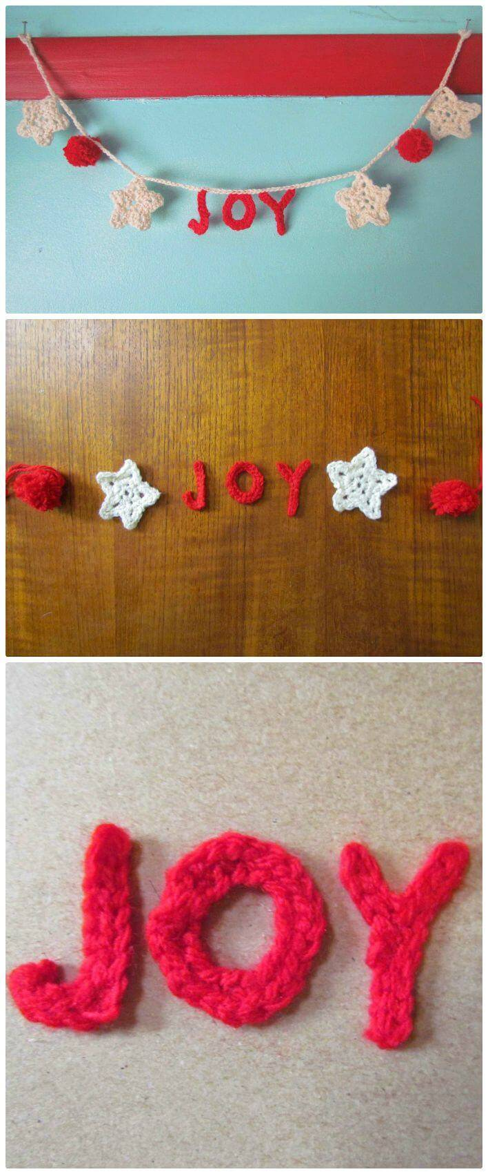 Easy Free Christmas Garland with Crochet Words