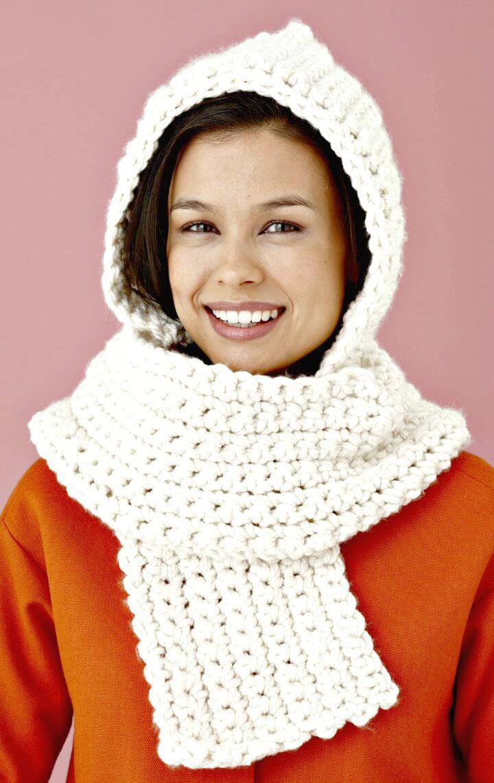 Cozy Free Crochet Hooded Scarf Pattern