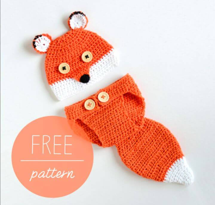 Easy Free Crochet Baby Hat And Diaper Cover Cute Fox