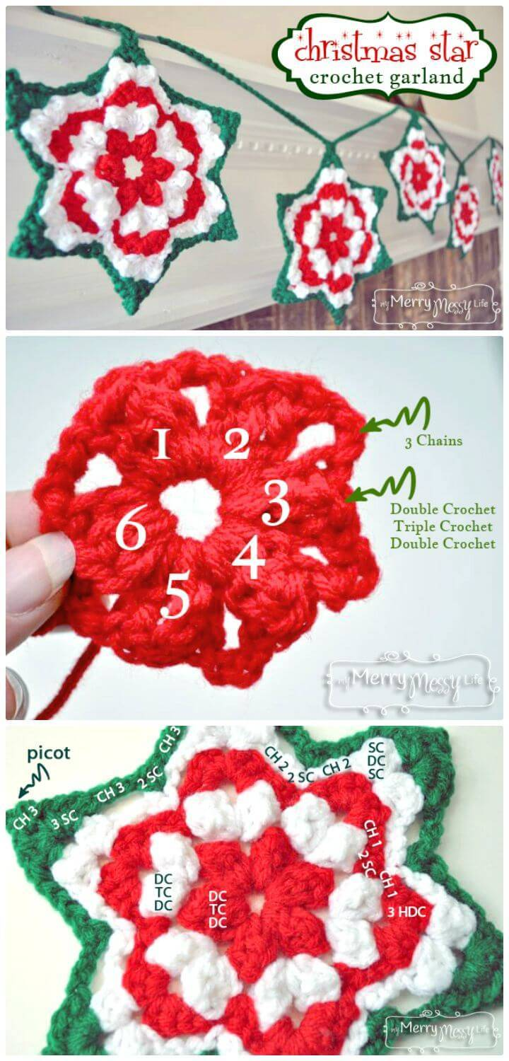Crochet Christmas Star Granny Garland – Free Pattern
