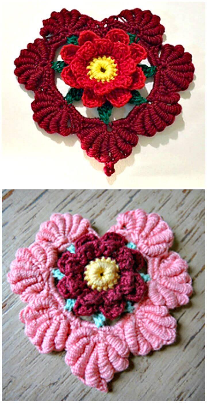 Crochet Floral Fantasy Valentine Heart - Free Pattern