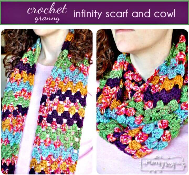 Easy Free Crochet Granny Infinity Scarf and Cowl Pattern