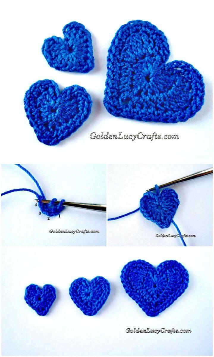 Easy Free Crochet Hearts Appliqué Pattern