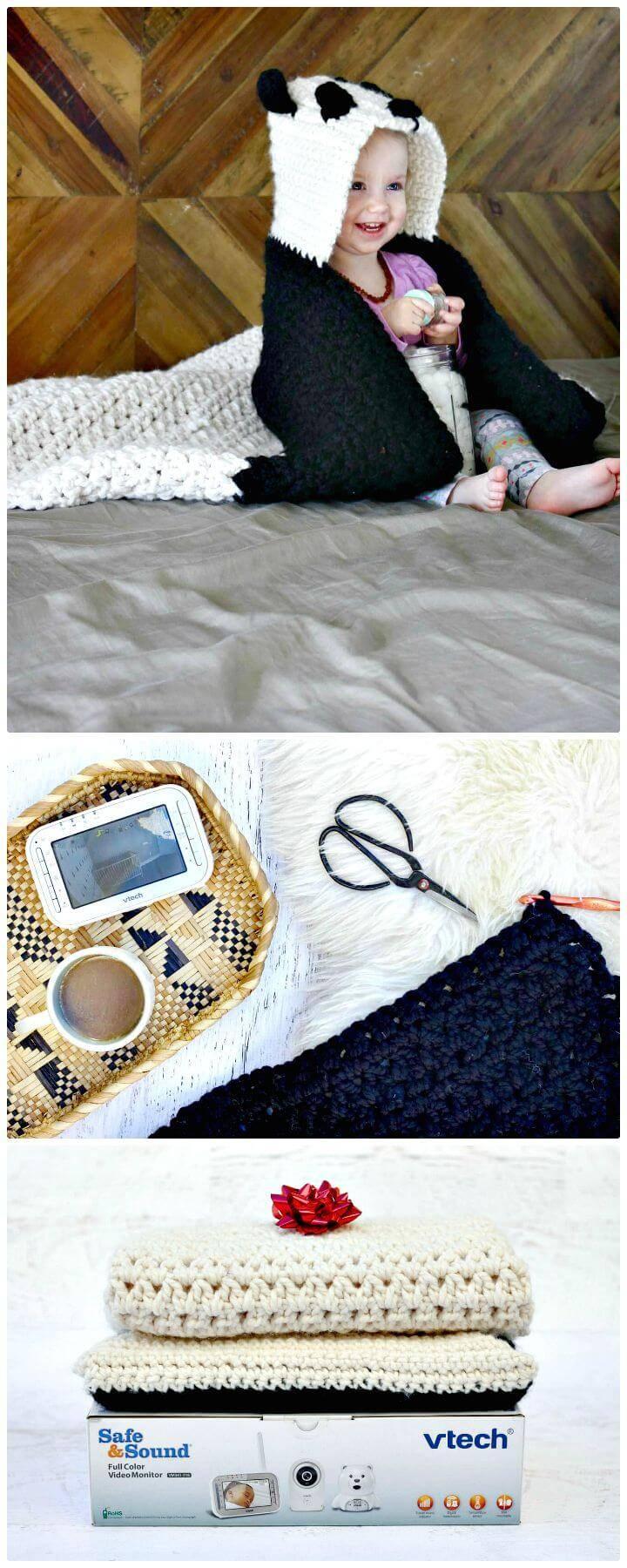 Easy Crochet Panda Hooded Baby Afghan – Free Pattern