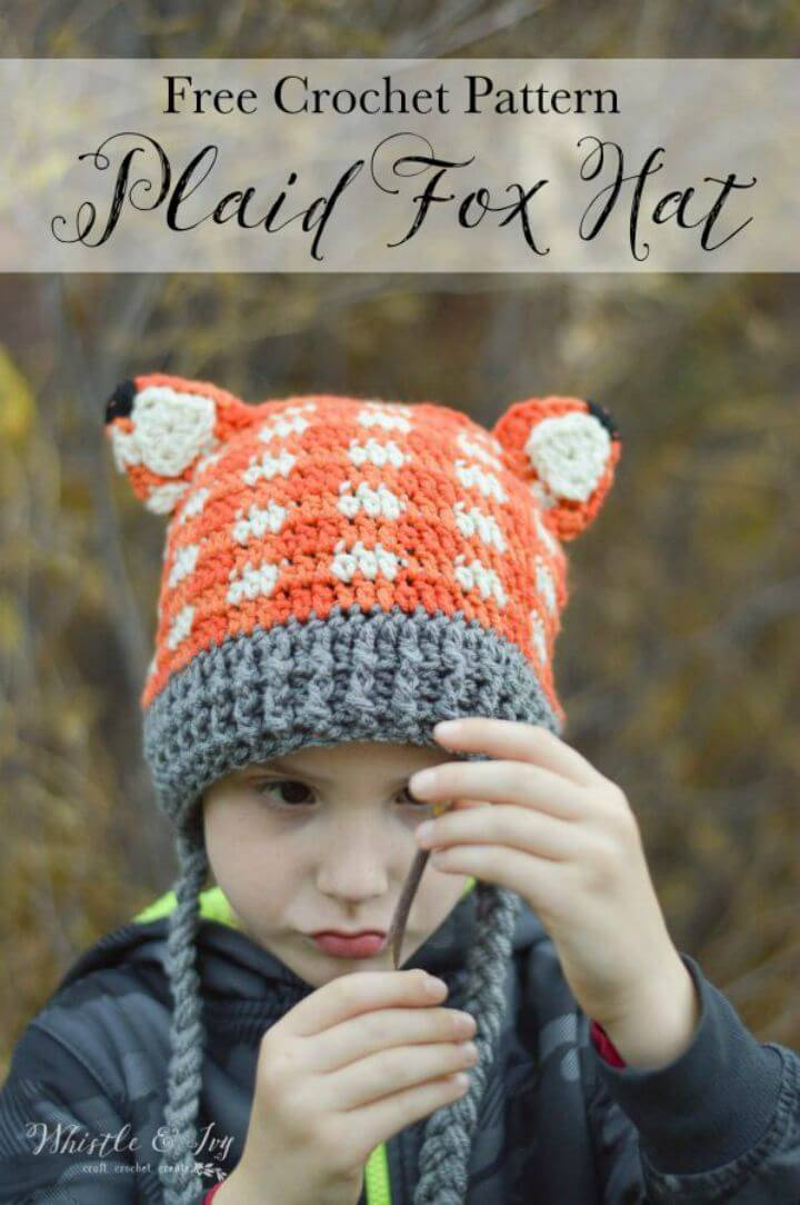 Crochet Plaid Fox Hat - Free Pattern