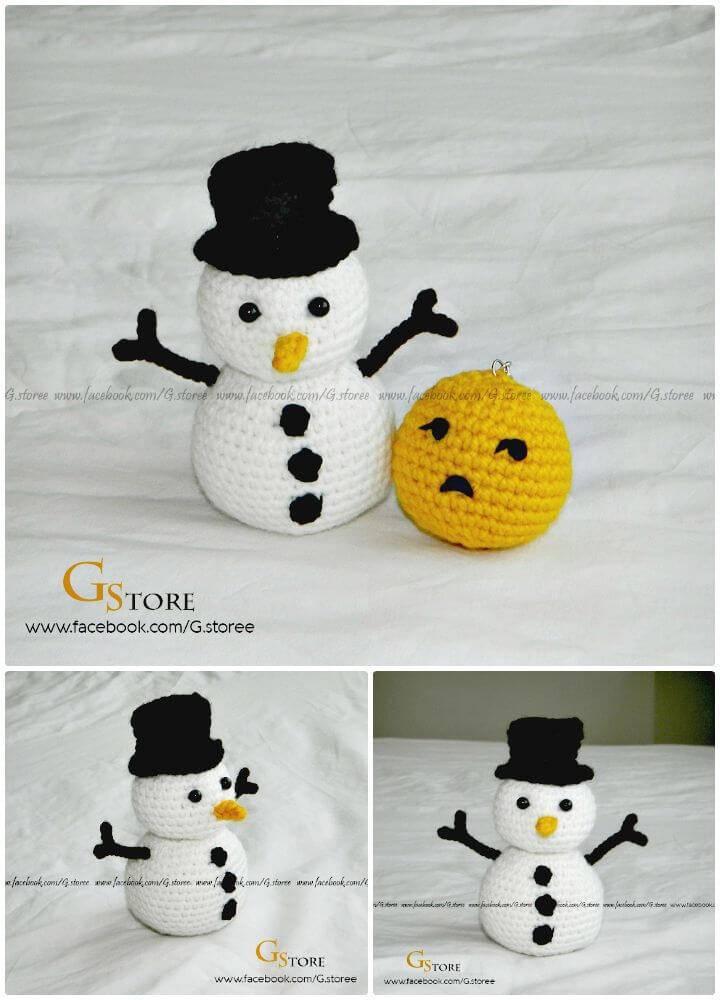 Easy Crochet Snowman Amigurumi Free Pattern