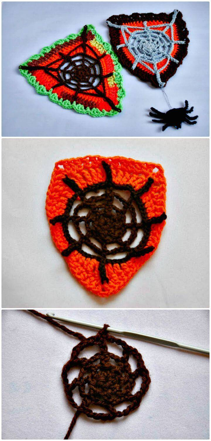 Free Crochet Spider Web Bunting and Spider Pattern