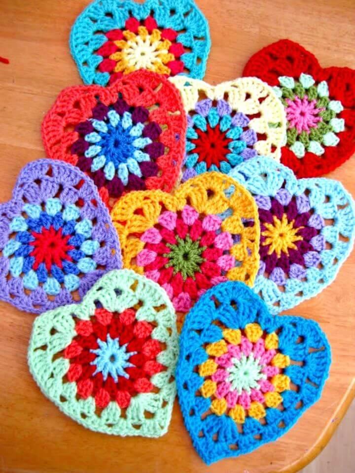 Crochet Sunburst Granny Hearts - Free Pattern