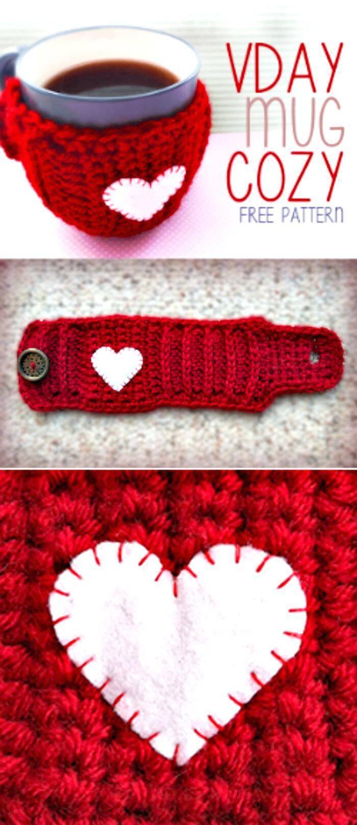 Crochet Valentine's Day Mug Cozy - Free Crochet Pattern