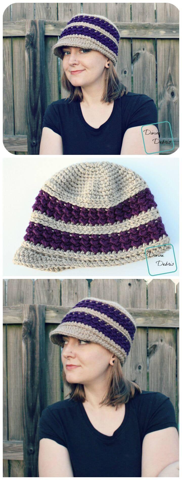 Cute Crochet Newsboy Hat - Free Pattern