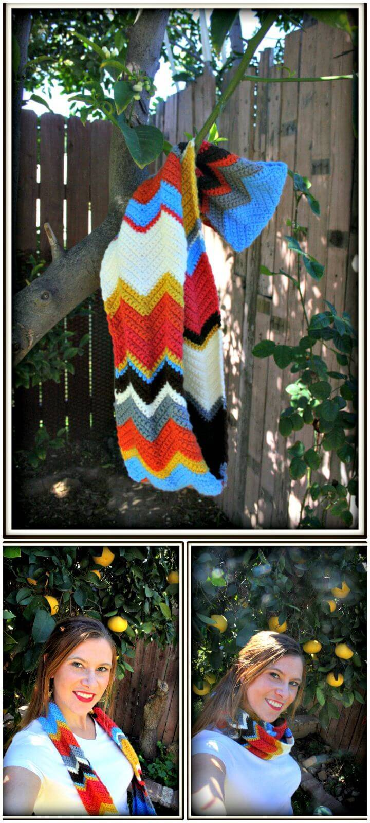 Cute How To Free Crochet Chevron Infinity Scarf Pattern