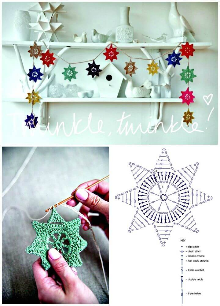 Cute Free Crochet Star Garland Pattern