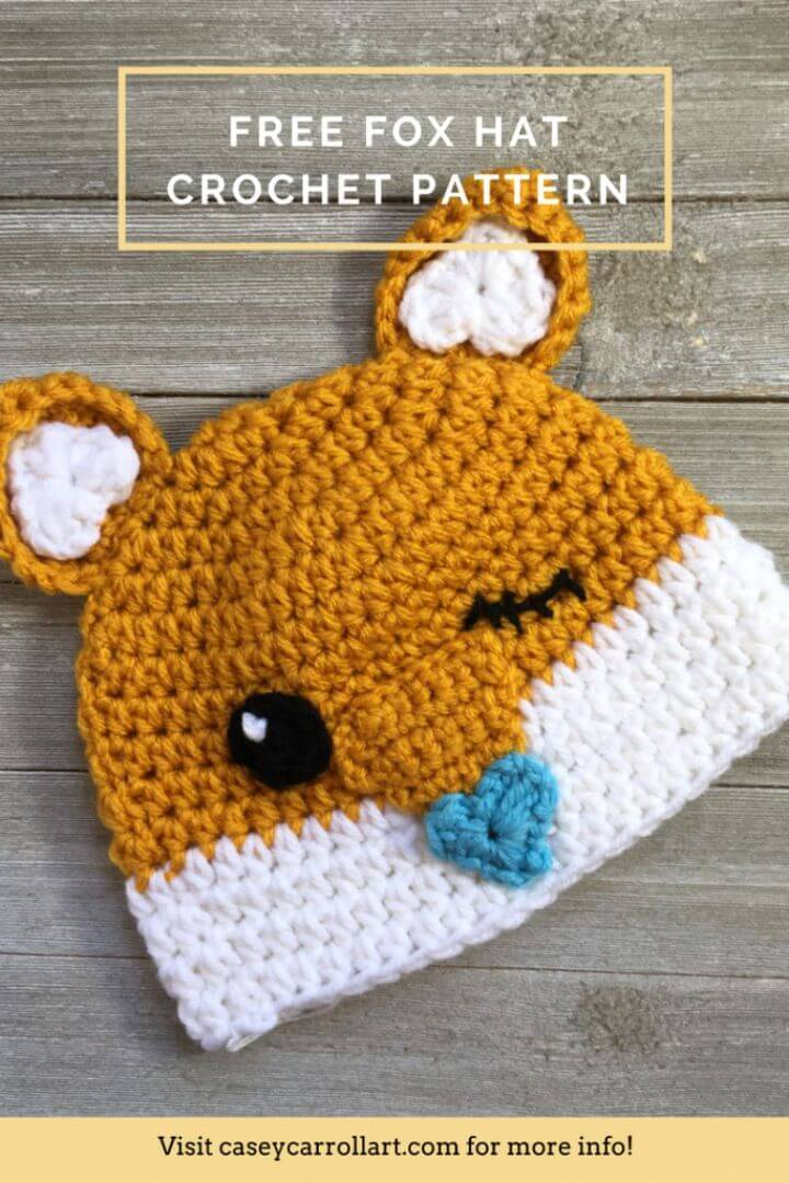 Cutesy Easy Free Crochet Fox Hat Pattern