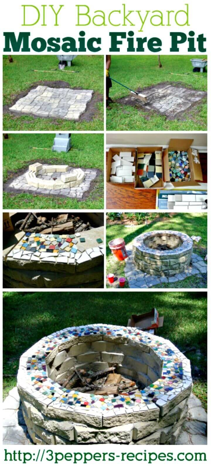 Easy DIY Backyard Mosaic Fire Pit