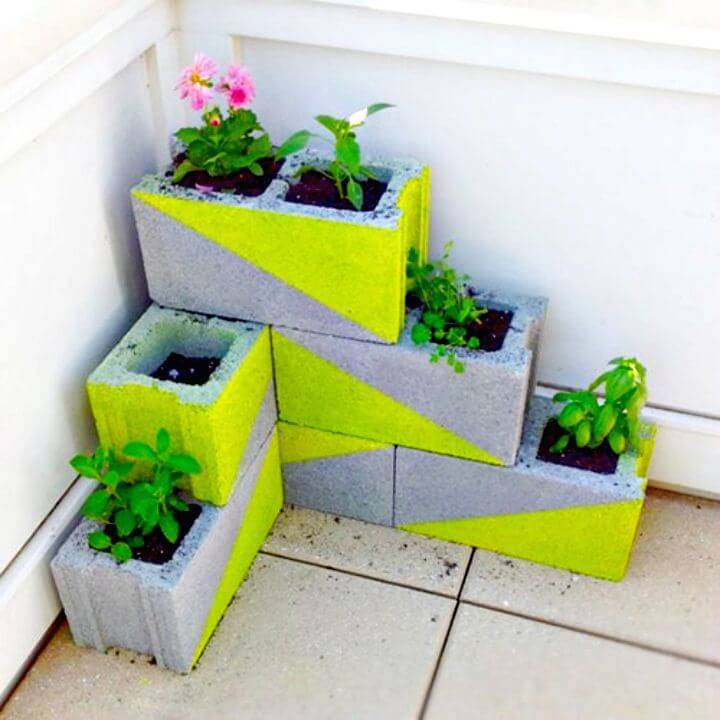Easy DIY Cinder Block Herb Planter