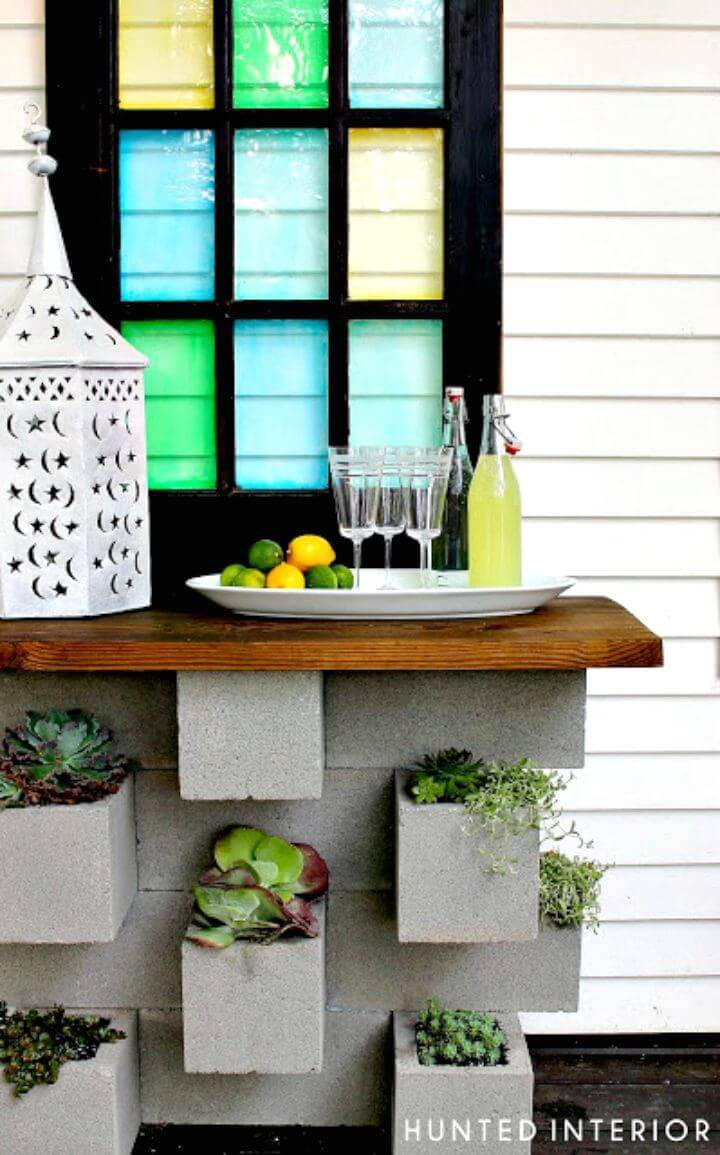 DIY Cinder Block On The Rocks Planter - Free Tutorial