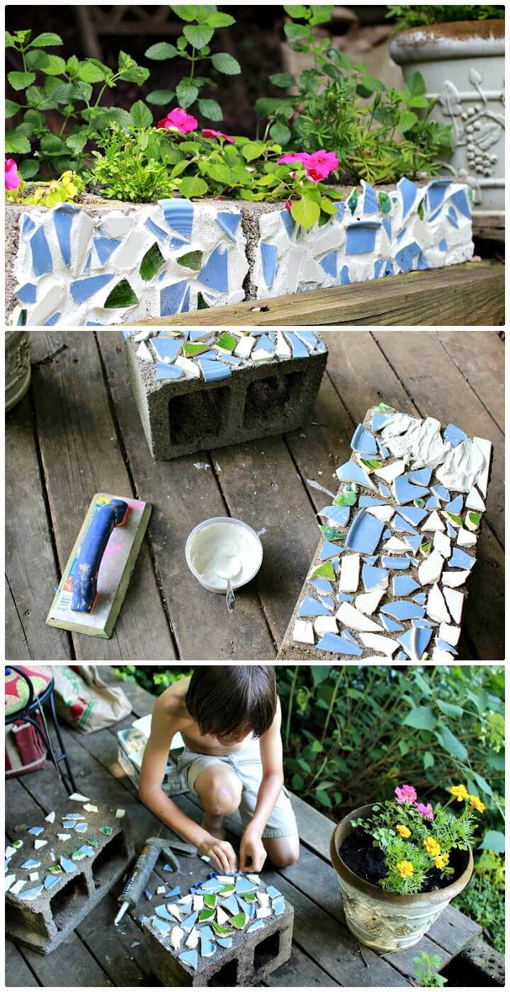 Easy DIY Cinder Blocks To Mosaic Tile Planters - Free Tutorial