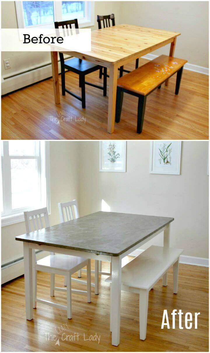 Easy DIY Concrete Dining Table Top And Dining Set Makeover