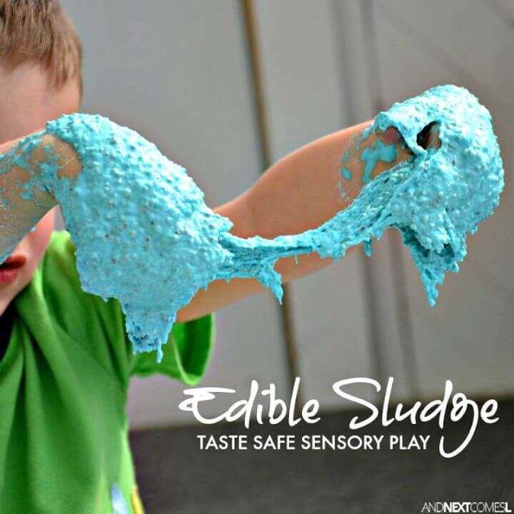 Easy DIY Edible Sludge Sensory Play Slime - Free Tutorial