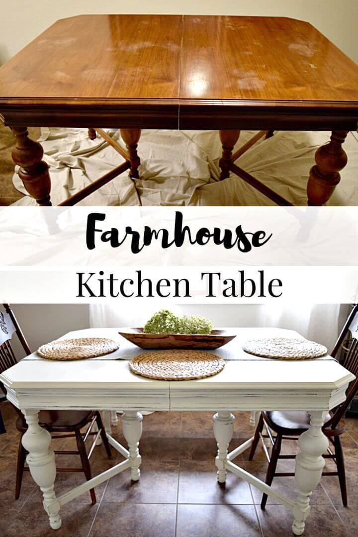 Easy DIY Farmhouse Kitchen Table