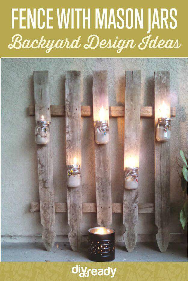 Easy DIY Fence With Mason Jar Lighting -  Mason Jar Light Ideas