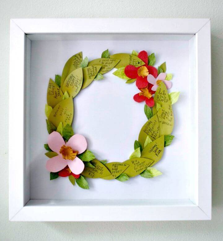 DIY Floral Wreath Guest Book Wall Art