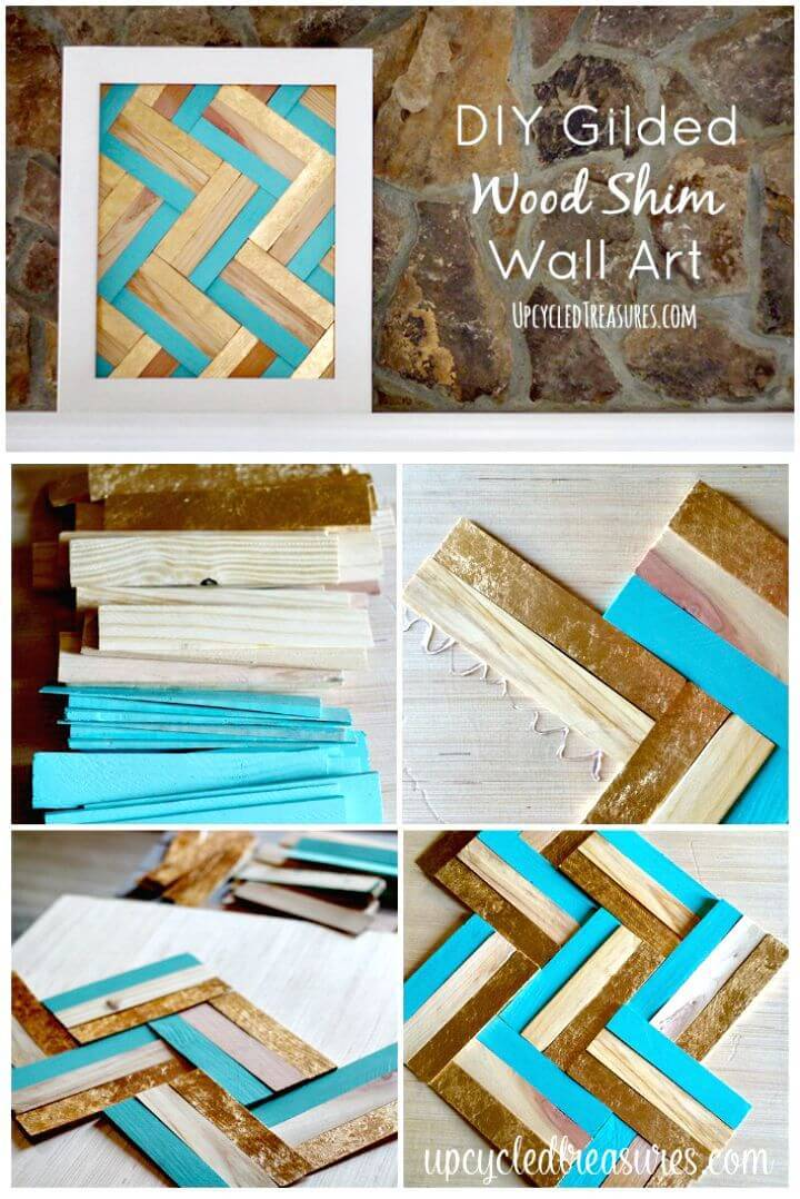 Easy DIY Gilded Wood Shim Wall Art Tutorial
