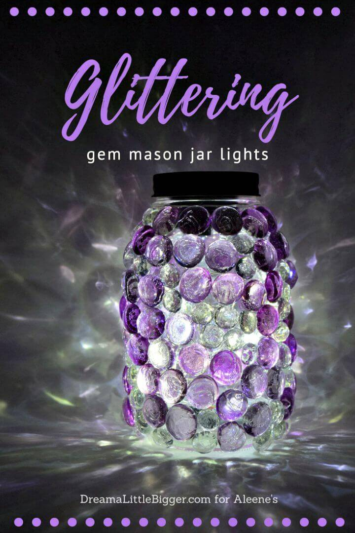 Easy DIY Glittering Gem Mason Jars Lights - Step By Step Free Tutorial
