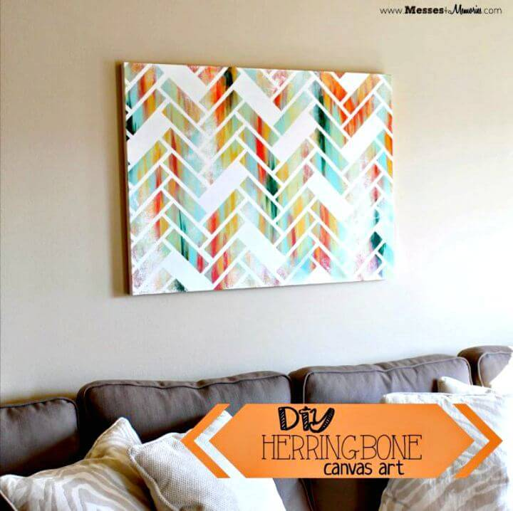 DIY Herringbone Canvas Wall Art Free Tutorial