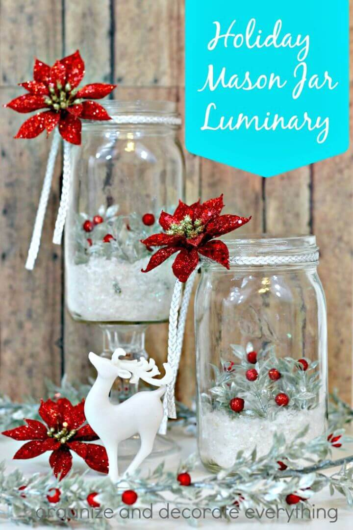 How To Easy DIY Holiday Mason Jar Luminary - Free Tutorial