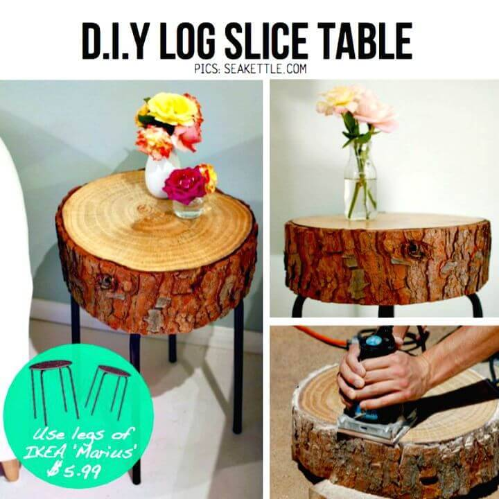 Easy DIY Log Slice Side Table Using The Legs From Ikea Marius