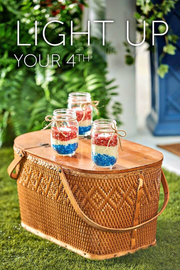 Easy DIY Mason Jar 4th of July Decorations - Free Tutorial