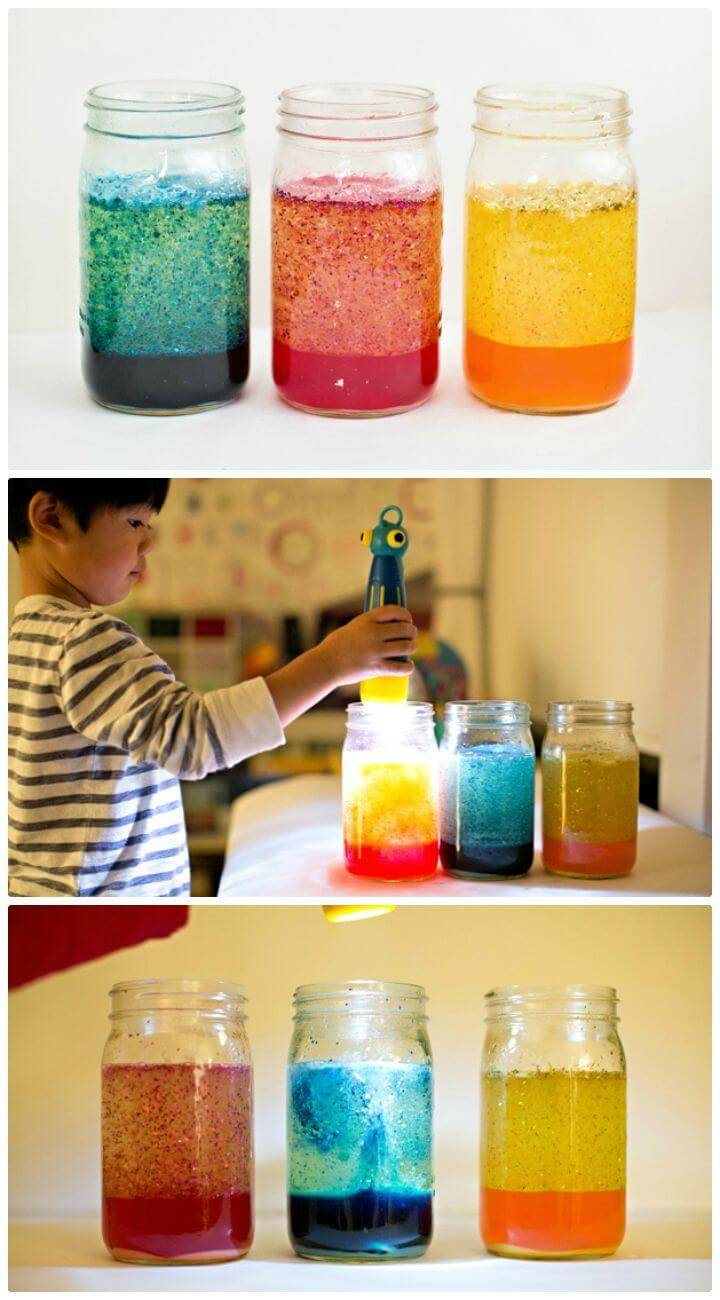 Easy To DIY Mason Jar Glitter Lava Lamps - Homemade Lights