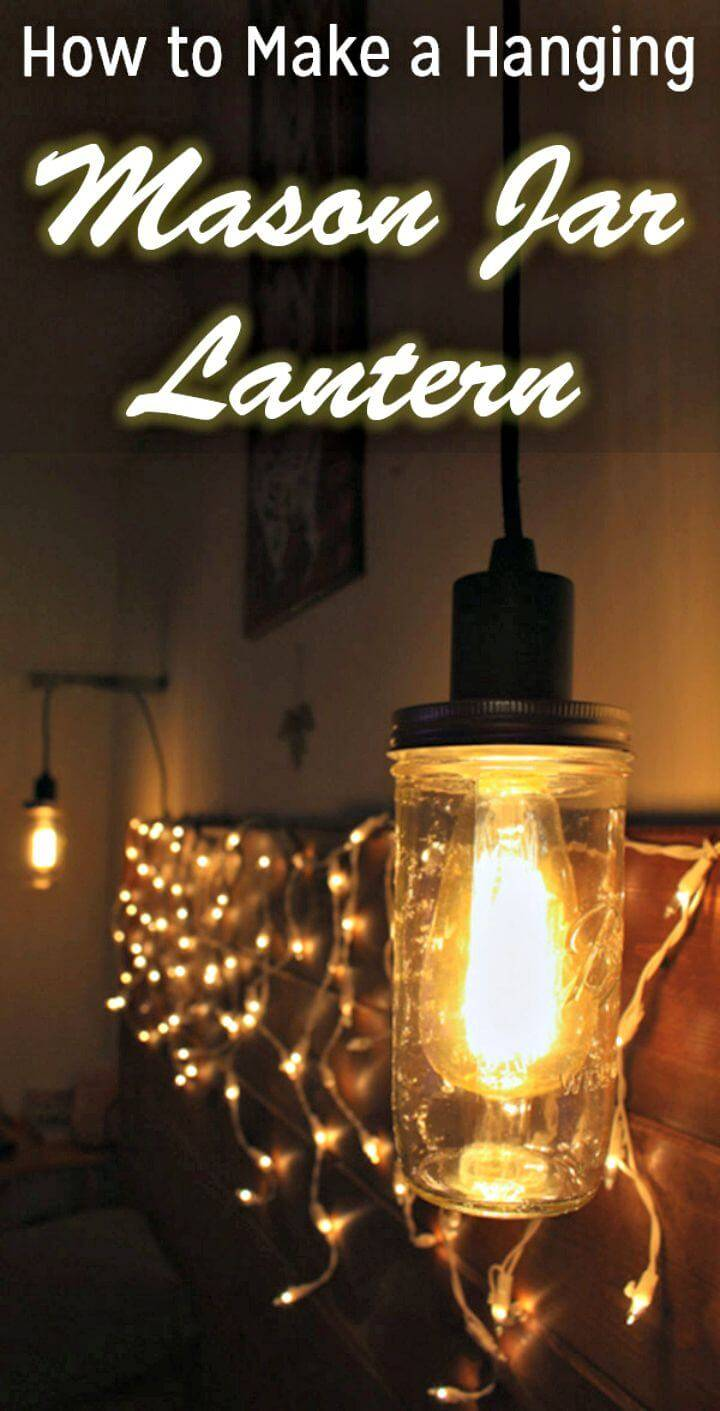 Easy to make Mason Jar Hanging Light Fixture - Inexpensive DIY Home Decor with Lights