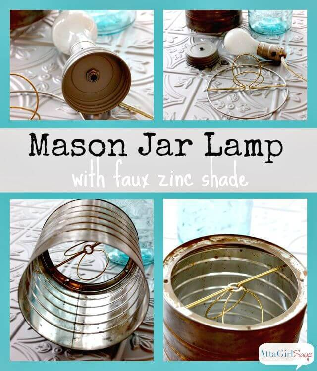 DIY Mason Jar Lamp With Faux Zinc Shade - Free Tutorial