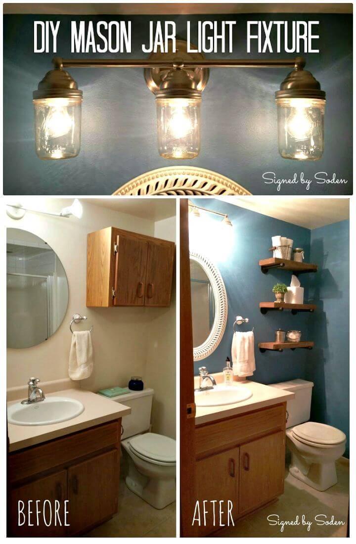 Easy DIY Mason Jar Light Fixture - Step By Step Free Tutorial