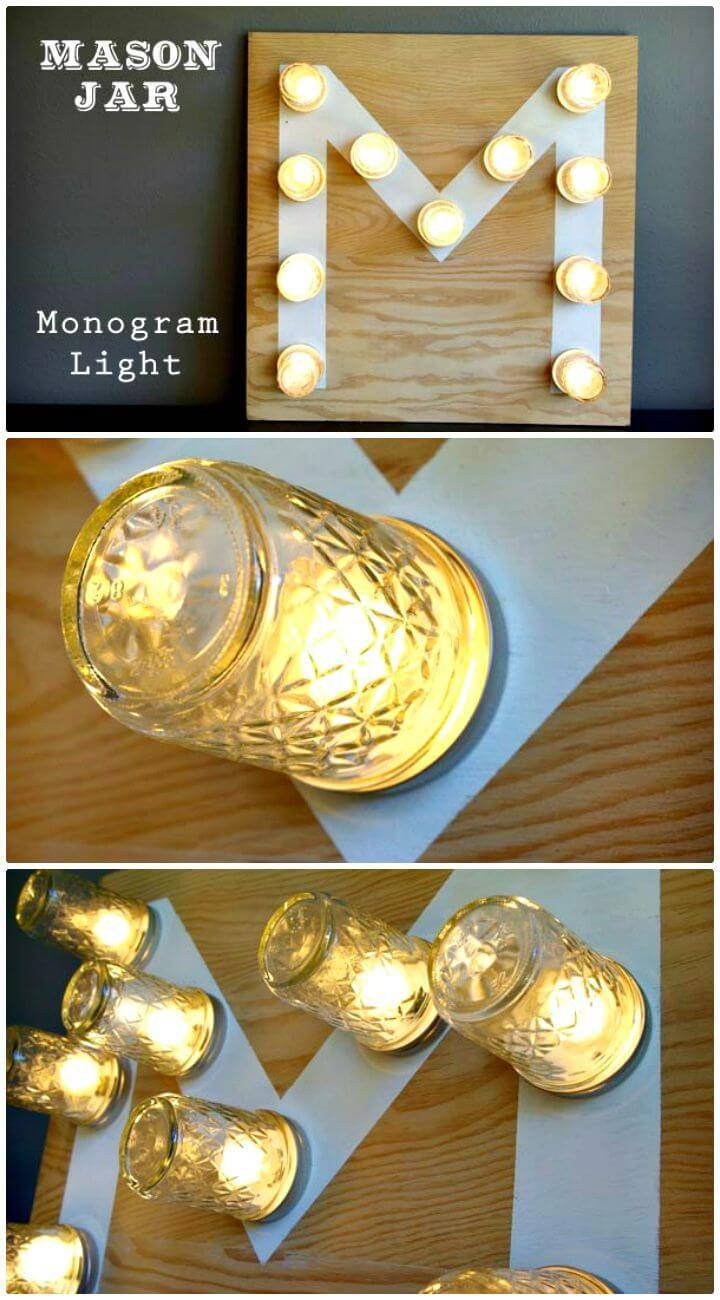 DIY Mason Jar Monogram Light - Free Tutorial