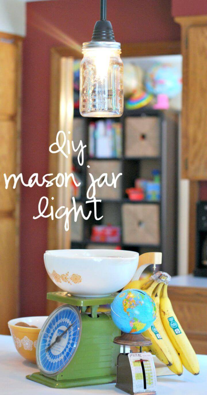 Easy DIY Mason Jar Pendant Light - Free Tutorial