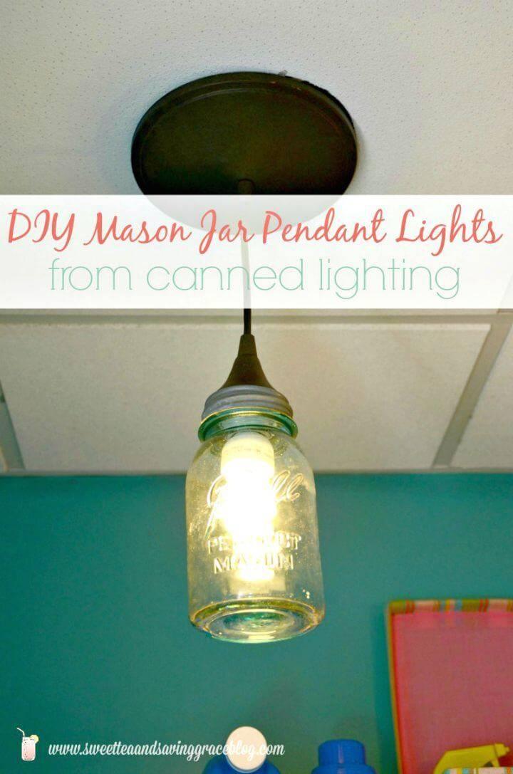 Easy DIY Mason Jar Pendant Lights - Step By Step Free Tutorial