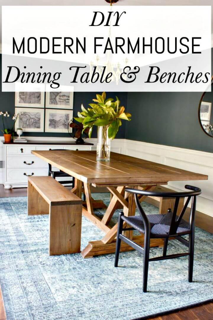Modern DIY Farmhouse Dining Table & Benches