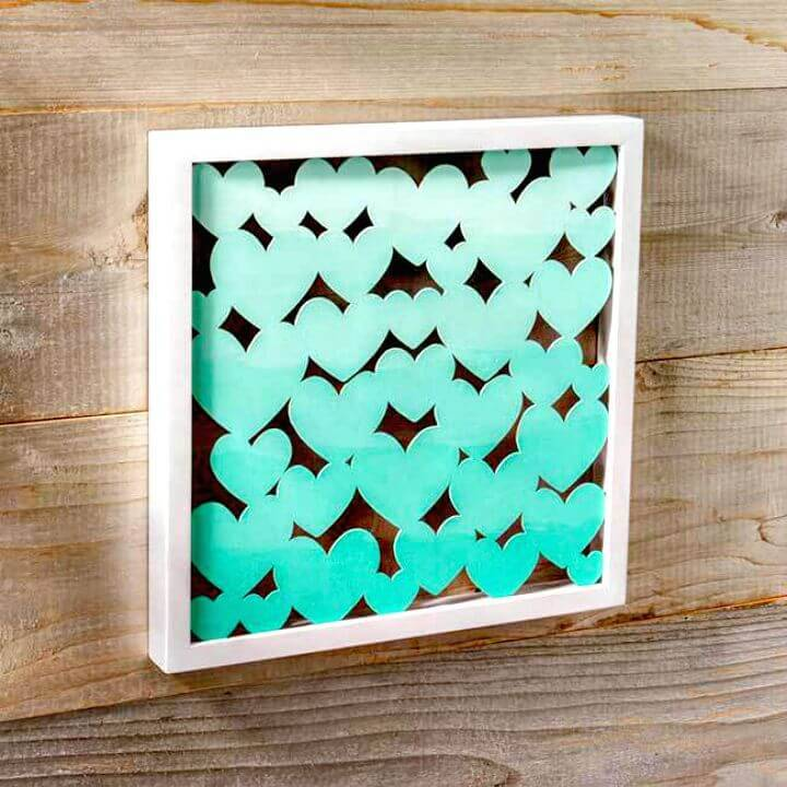 DIY Ombre Heart Shadow Box Wall Art Tutorial