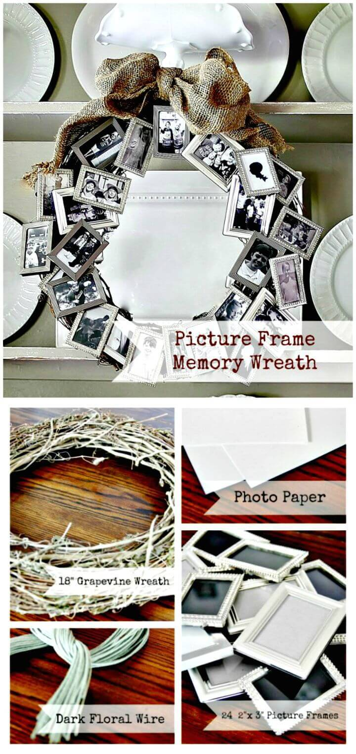 Easy DIY Picture Frame Memory Wreath Tutorial