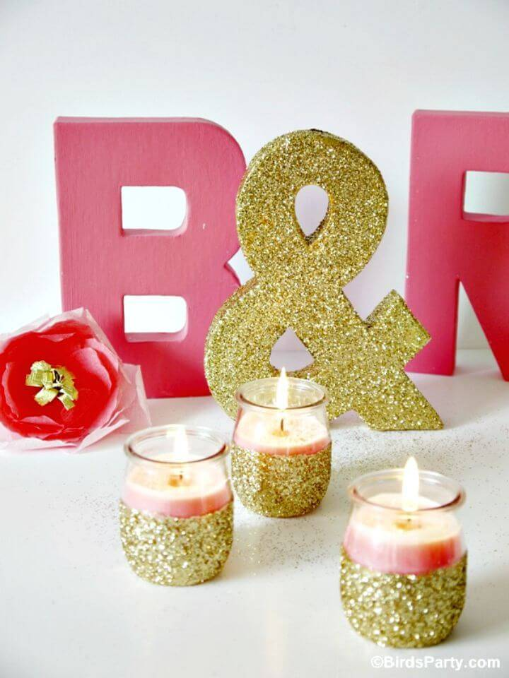 Easy DIY Pink Candles And Glitter Candle Holders - Inexpensive Home Decor with Lights