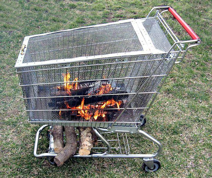 DIY Portable Fire Pit With Built-In Log Storage Rack Under 15 $