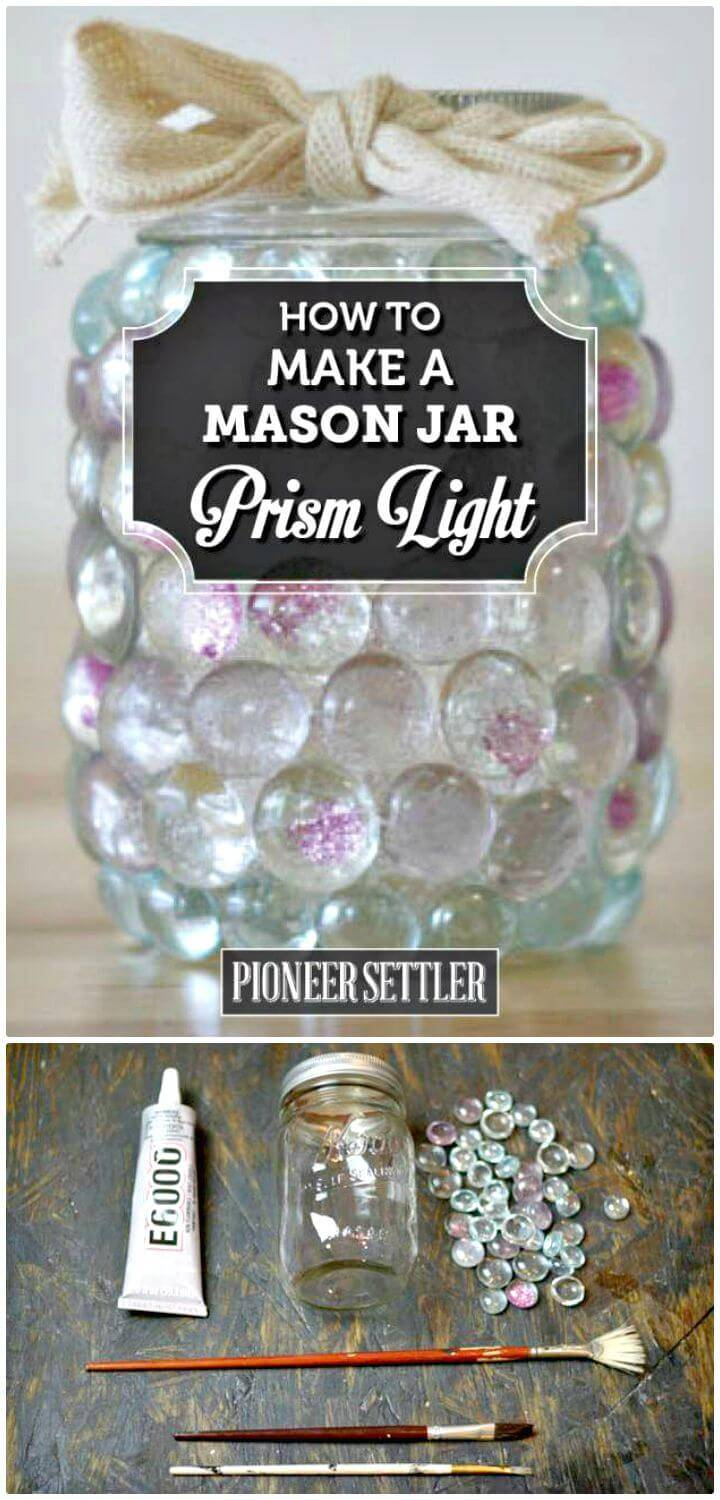 How To DIY Prism Mason Jar Candle - Homemade Lights Gift