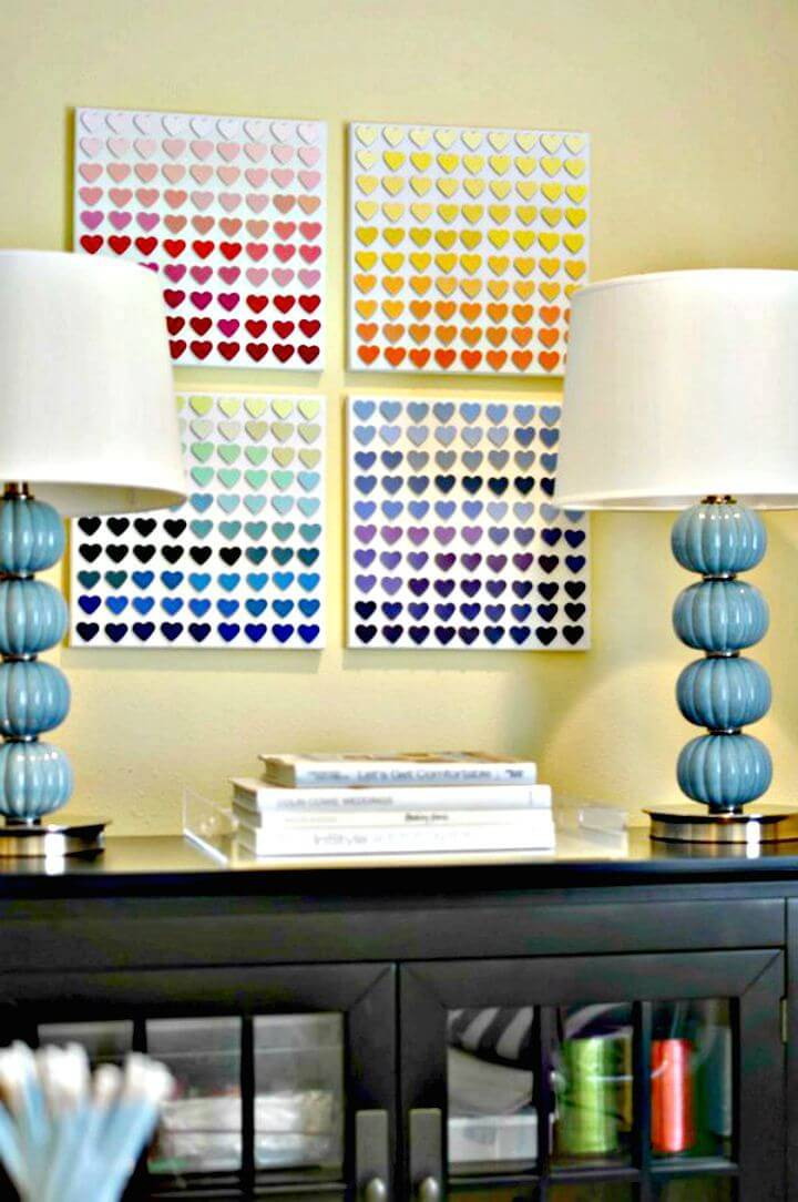 Easy Make A Rainbow Paint Chip Wall Art